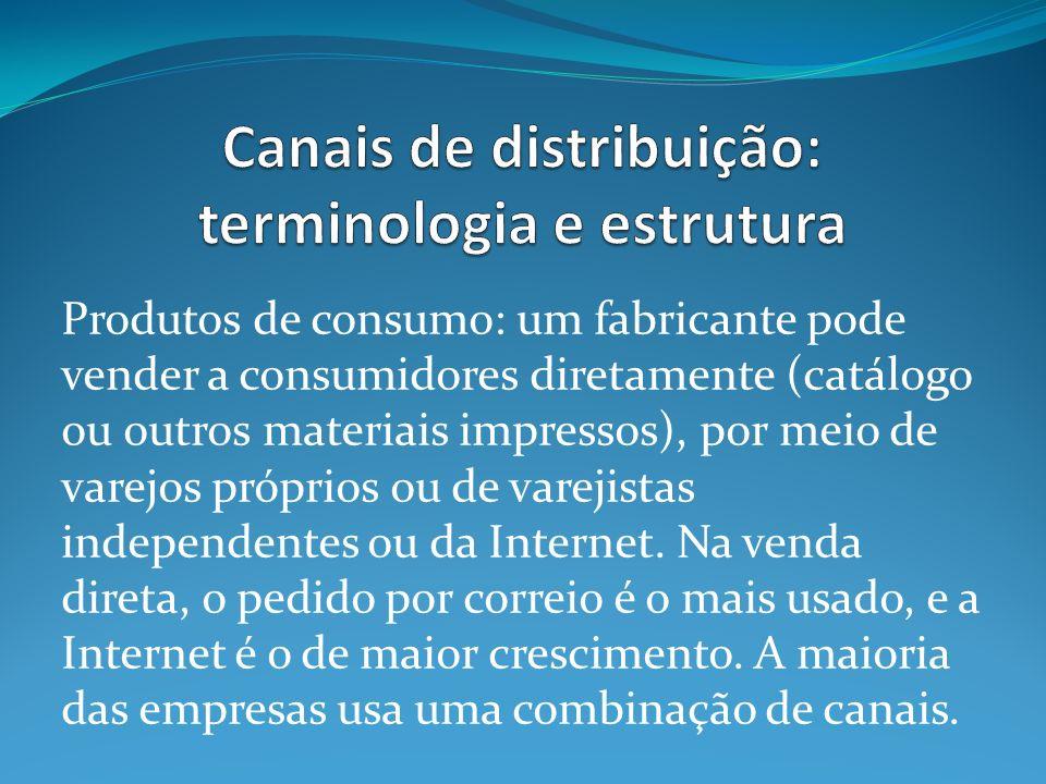Produtos de consumo: um fabricante pode vender a consumidores diretamente (catálogo ou outros materiais impressos), por meio de varejos próprios ou de