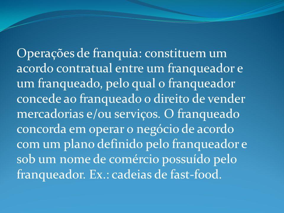 Operações de franquia: constituem um acordo contratual entre um franqueador e um franqueado, pelo qual o franqueador concede ao franqueado o direito d