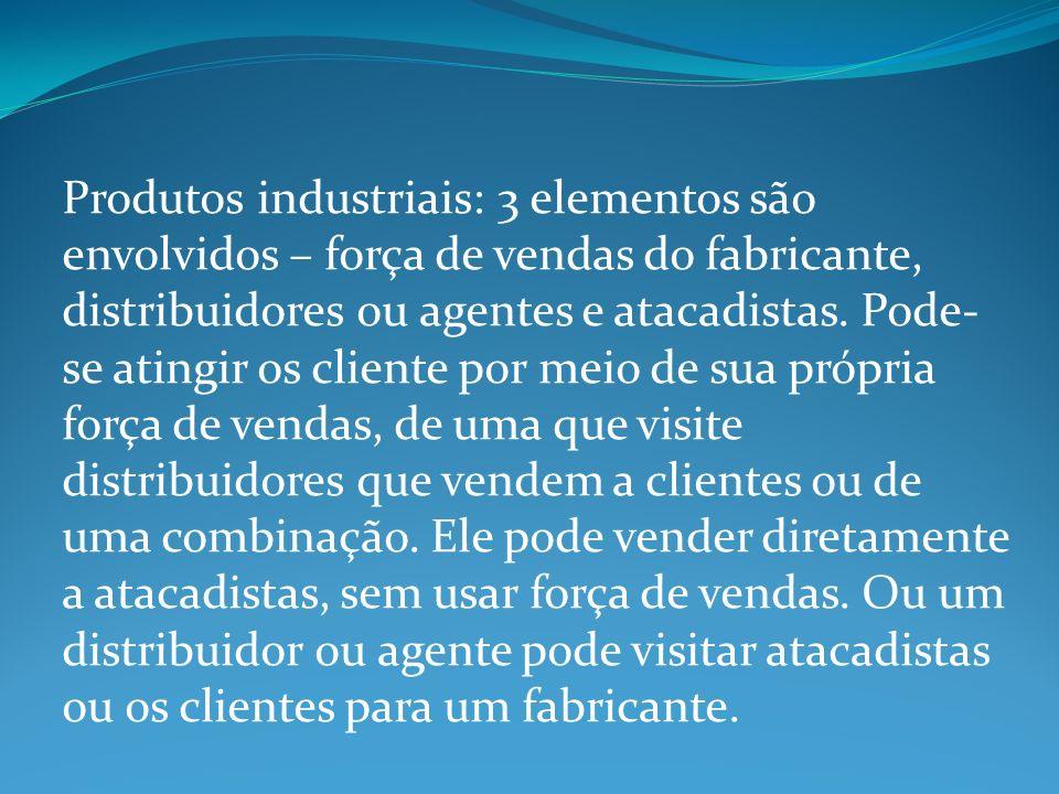 Produtos industriais: 3 elementos são envolvidos – força de vendas do fabricante, distribuidores ou agentes e atacadistas. Pode- se atingir os cliente