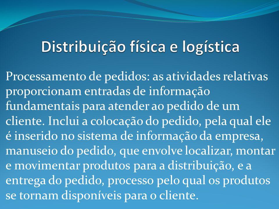 Processamento de pedidos: as atividades relativas proporcionam entradas de informação fundamentais para atender ao pedido de um cliente. Inclui a colo