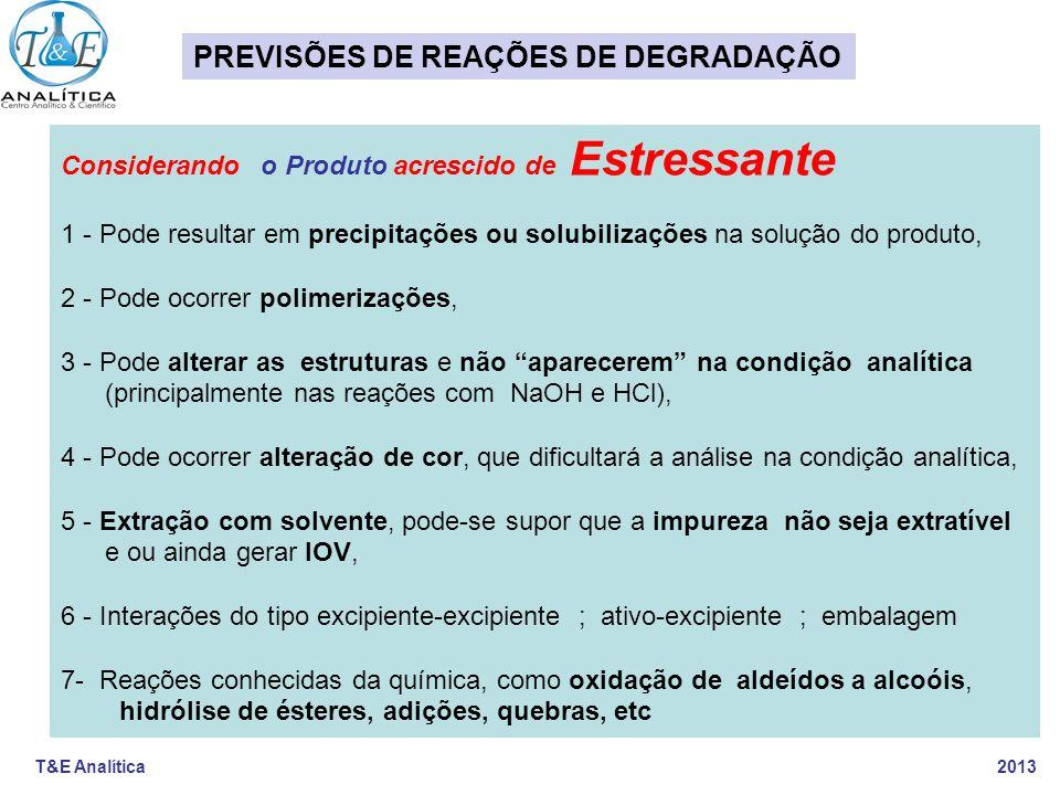 T&E Analítica 2013 Considerando o Produto acrescido de Estressante 1 - Pode resultar em precipitações ou solubilizações na solução do produto, 2 - Pod
