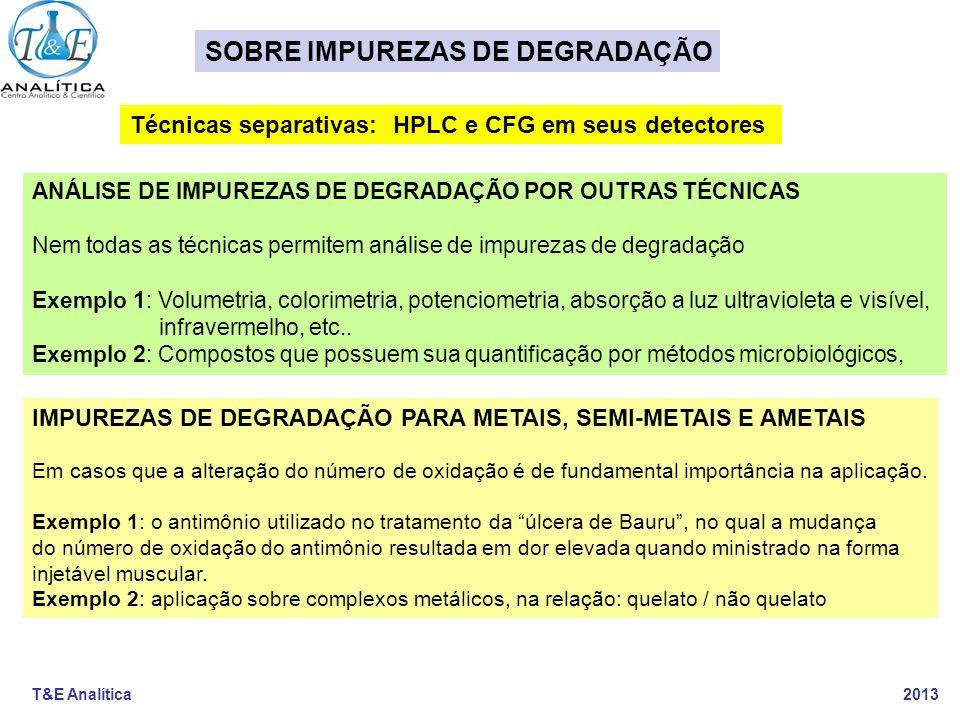 T&E Analítica 2013 IMPUREZAS DE DEGRADAÇÃO PARA METAIS, SEMI-METAIS E AMETAIS Em casos que a alteração do número de oxidação é de fundamental importân