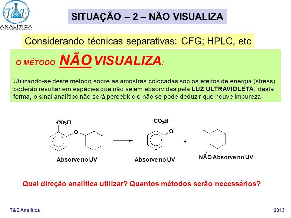 T&E Analítica 2013 O MÉTODO NÃO VISUALIZA : Utilizando-se deste método sobre as amostras colocadas sob os efeitos de energia (stress) poderão resultar