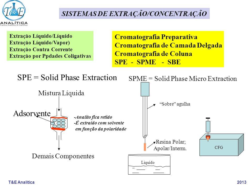 T&E Analítica 2013 SISTEMAS DE EXTRAÇÃO/CONCENTRAÇÃO SPME = Solid Phase Micro Extraction Sobre agulha Resina Polar; Apolar/Interm. CFG Líquido SPE = S