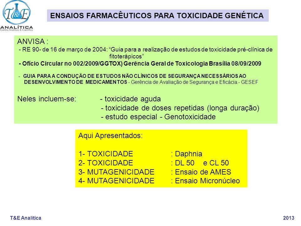 T&E Analítica 2013 ENSAIOS FARMACÊUTICOS PARA TOXICIDADE GENÉTICA ANVISA : - RE 90- de 16 de março de 2004: Guia para a realização de estudos de toxic