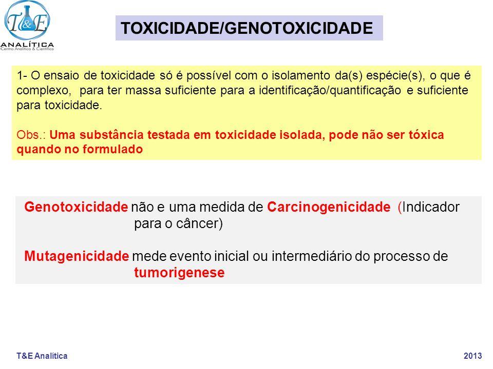 T&E Analítica 2013 1- O ensaio de toxicidade só é possível com o isolamento da(s) espécie(s), o que é complexo, para ter massa suficiente para a ident