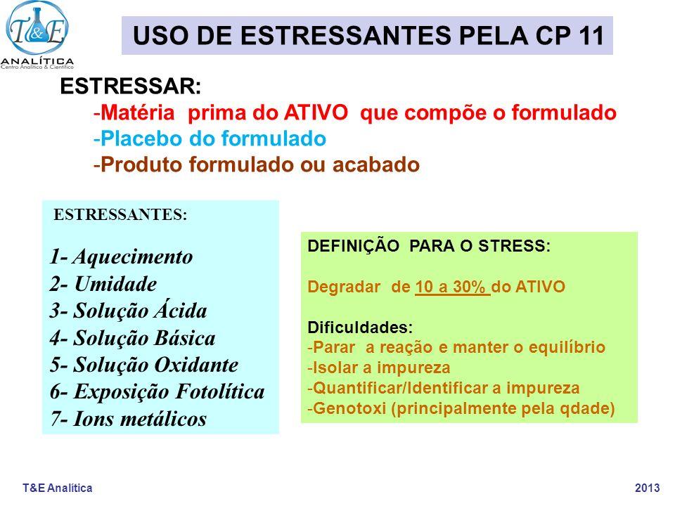 T&E Analítica 2013 ETAPA 1A- BUSCA DA IMPUREZA DE DEGRADAÇÃO CONSIDERANDO ENSAIOS TÉCNICA PERTINENTE (LC-DAD, HPLC-UV/Vis, CFG ou GC/MS) MP Ativo Tfinal PLACEBO Tfinal FORMULADO Tfinal BRANCO Stressante Teor Ativo (dupl) ANTES colocar as quantidades (tzero ) *Teor impurezas conhecidas antes Teor do ativo+Imp LUZ - FINAL de cada dia Teor do ativo+Imp UMIDADE - FINAL de cada dia Teor do ativo+Imp-TEMPERATURA - FINAL de cada dia (60oC) Teor do ativo+Imp-OXIDAÇÃO - FINAL 2 conc de cada dia Teor do ativo+Imp-HIDRO ÁCIDA- FINAL 2 conc de cada dia Teor do ativo+Imp- HIDRO BÁSICA- FINAL 2 conc de cada dia Teor ativo+Imp OXIREDUÇÃO-FINAL,2 conc,2 reagde cada dia Quantificação NOVAS Imp Fator Resposta Ativo ou Área% Incremento de análises diárias (1 a 20 dias) TOTAL ANÁLISES= MODELO DE PROTOCOLO PARA IMPUREZAS DEGRADAÇÃO CP - 11 Prazo: 10 a 20 dias