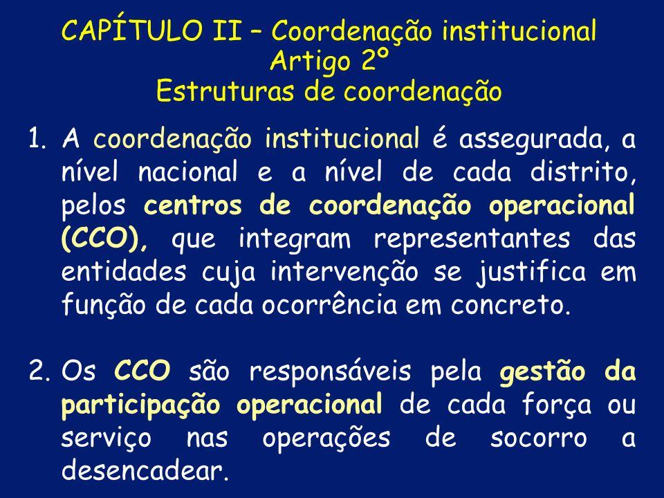 CAPÍTULO I - SIOPS Artigo 1º Sistema Integrado de Operações de Protecção e Socorro 1.