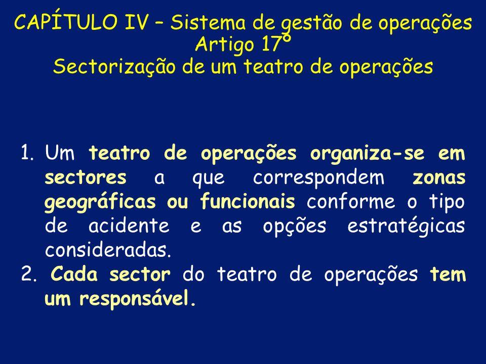 CAPÍTULO III – Gestão de operações Artigo 5º Estruturas de direcção e comando 2.