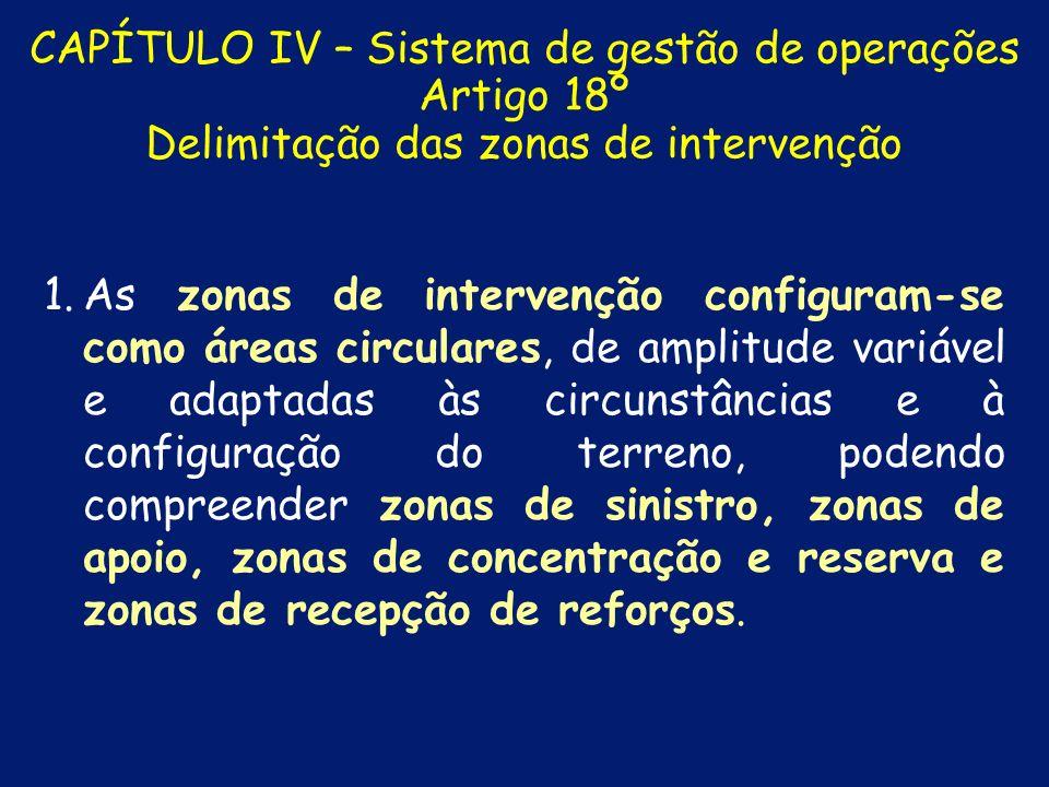 CAPÍTULO IV – Sistema de gestão de operações Artigo 17º Sectorização de um teatro de operações 1. 1.Um teatro de operações organiza-se em sectores a q