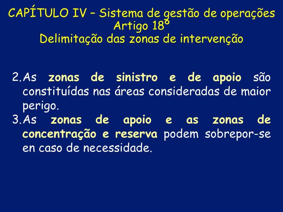 CAPÍTULO IV – Sistema de gestão de operações Artigo 18º Delimitação das zonas de intervenção 1. 1.As zonas de intervenção configuram-se como áreas cir