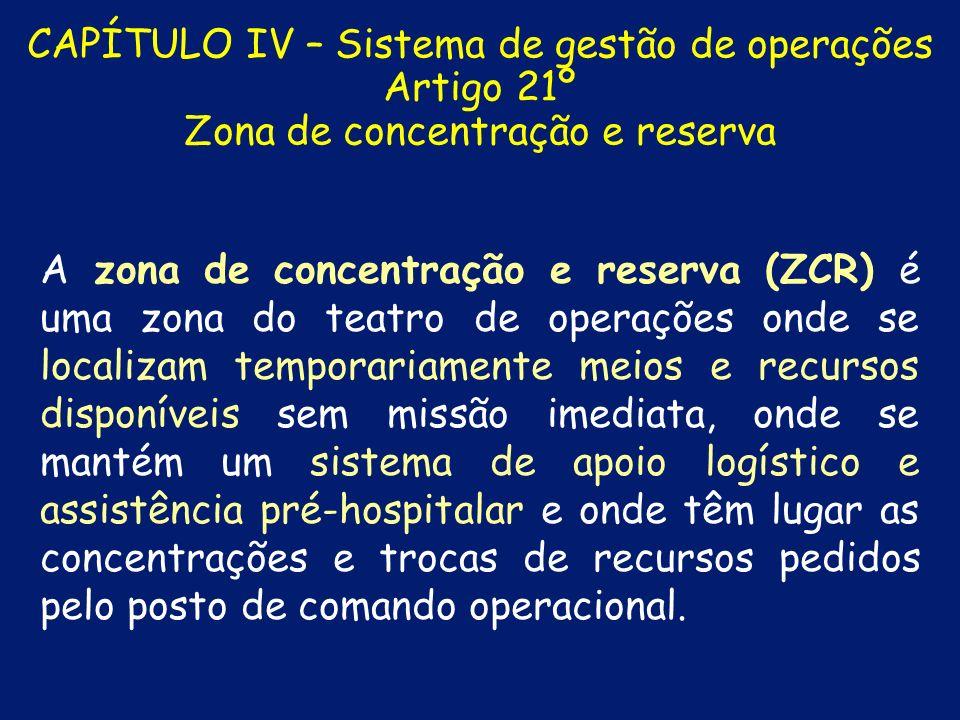 CAPÍTULO IV – Sistema de gestão de operações Artigo 20º Zona de apoio A zona de apoio (ZA) é uma zona adjacente à ZS, de acesso condicionado, onde se concentram os meios de apoio e logísticos estritamente necessários ao suporte dos meios de intervenção ou onde estacionam meios de intervenção para resposta imediata.