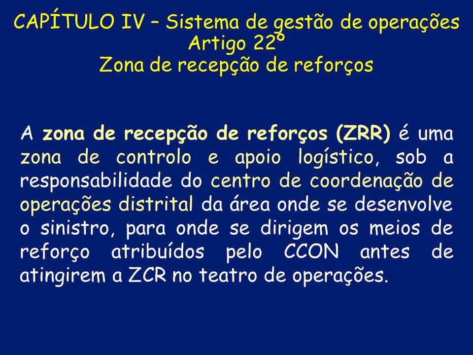 CAPÍTULO IV – Sistema de gestão de operações Artigo 21º Zona de concentração e reserva A zona de concentração e reserva (ZCR) é uma zona do teatro de