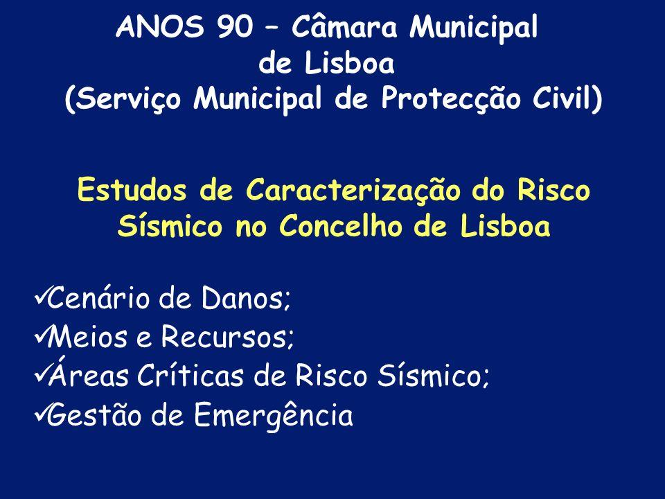 Programa de Acções para a Minimização do Risco Sísmico da cidade de Lisboa Carta Geológica do Concelho de Lisboa, Plantas de Microzonagem Sísmica da c
