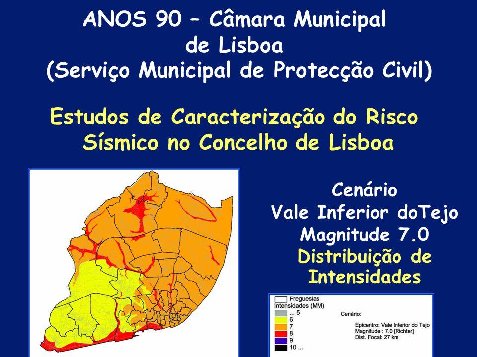 Estudos de Caracterização do Risco Sísmico no Concelho de Lisboa Cenário de Danos; Meios e Recursos; Áreas Críticas de Risco Sísmico; Gestão de Emergê