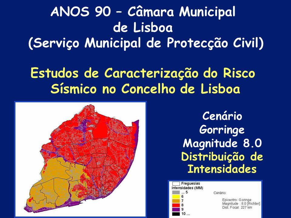 Cenário Vale Inferior doTejo Magnitude 7.0 Distribuição de Intensidades Estudos de Caracterização do Risco Sísmico no Concelho de Lisboa ANOS 90 – Câmara Municipal de Lisboa (Serviço Municipal de Protecção Civil)