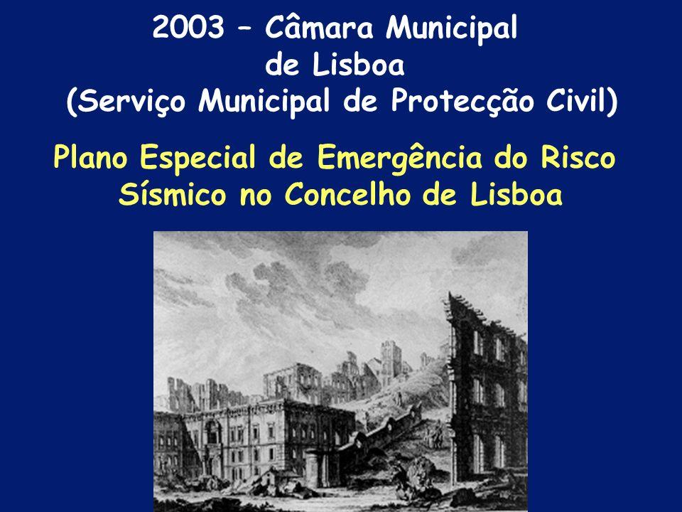 Caracterização do risco sísmico; Definição de cenários sísmicos e de danos Plano de Emergência Estudo do Risco Sísmico da AML e concelhos limítrofes 1997 – Serviço Nacional Protecção Civil
