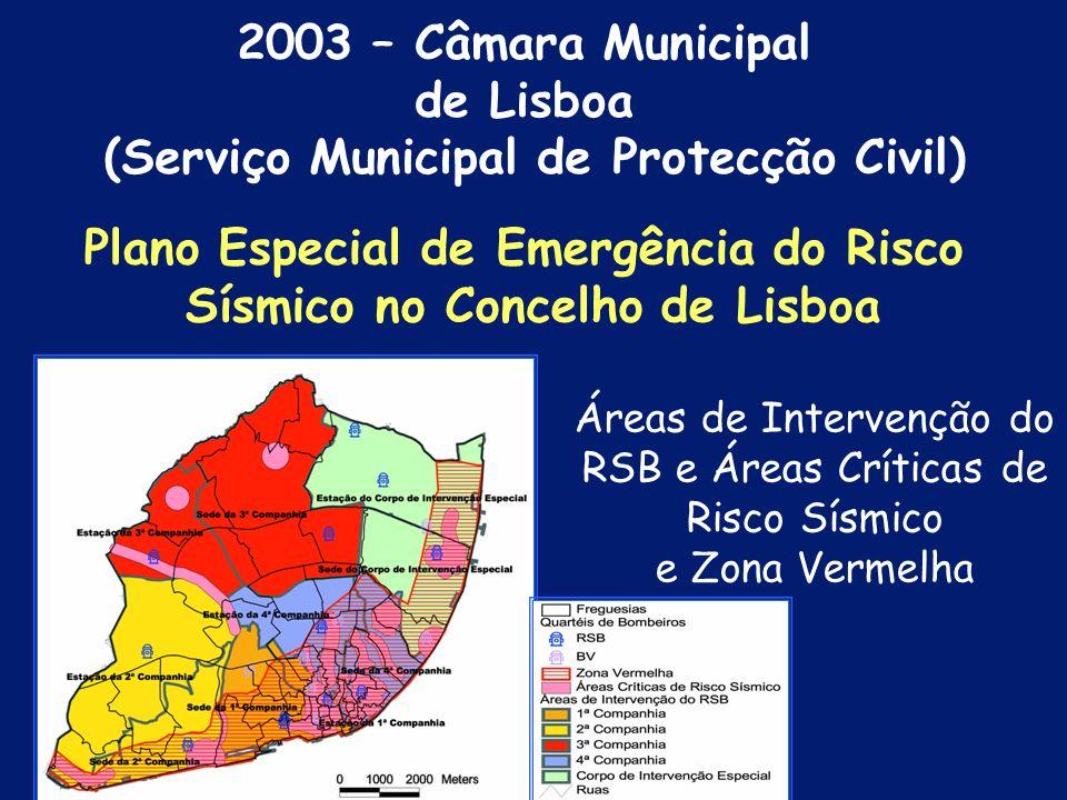 Áreas Críticas de Risco Sísmico e Zona Vermelha Plano Especial de Emergência do Risco Sísmico no Concelho de Lisboa 2003 – Câmara Municipal de Lisboa (Serviço Municipal de Protecção Civil)