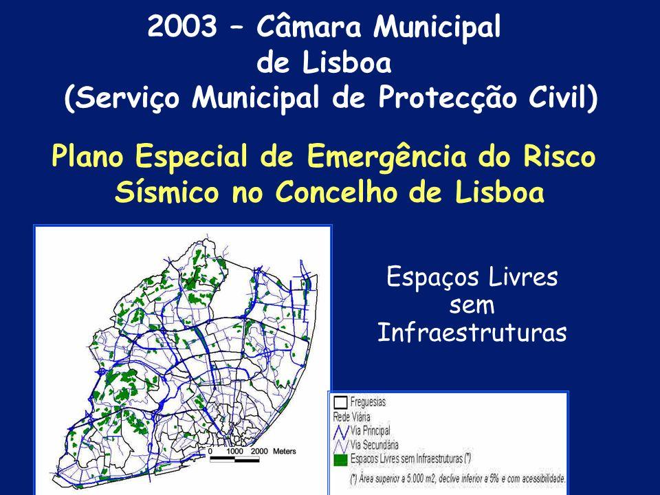 Áreas de Intervenção do RSB e Áreas Críticas de Risco Sísmico e Zona Vermelha Plano Especial de Emergência do Risco Sísmico no Concelho de Lisboa 2003 – Câmara Municipal de Lisboa (Serviço Municipal de Protecção Civil)