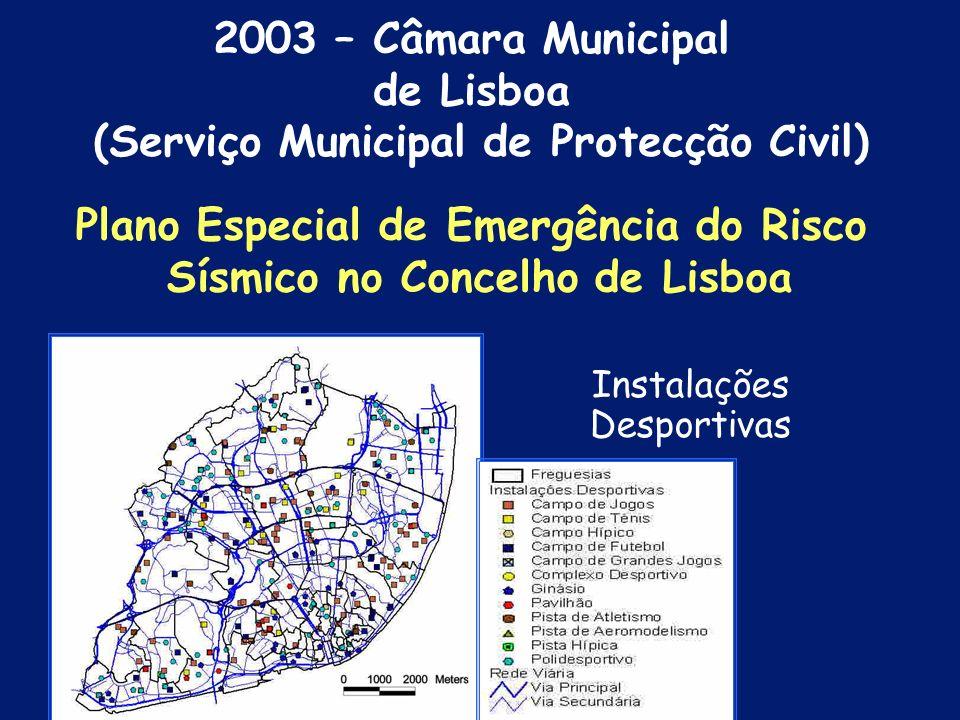 Espaços Verdes Municipais Plano Especial de Emergência do Risco Sísmico no Concelho de Lisboa 2003 – Câmara Municipal de Lisboa (Serviço Municipal de
