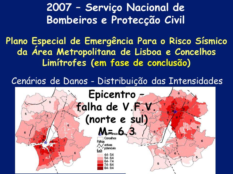 2007 – Serviço Nacional de Bombeiros e Protecção Civil Plano Especial de Emergência Para o Risco Sísmico da Área Metropolitana de Lisboa e Concelhos Limítrofes ( em fase de conclusão)