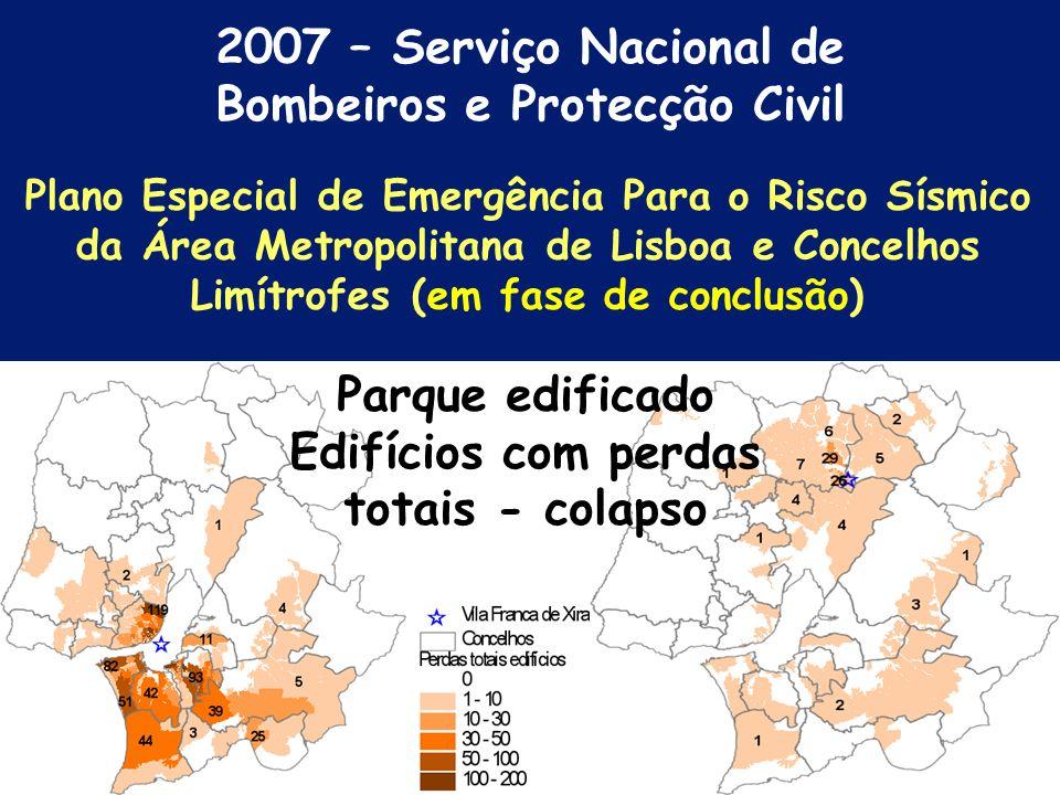 2007 – Serviço Nacional de Bombeiros e Protecção Civil Epicentro – falha de V.F.V. (norte e sul) M= 6.3 Cenários de Danos - Distribuição das Intensida