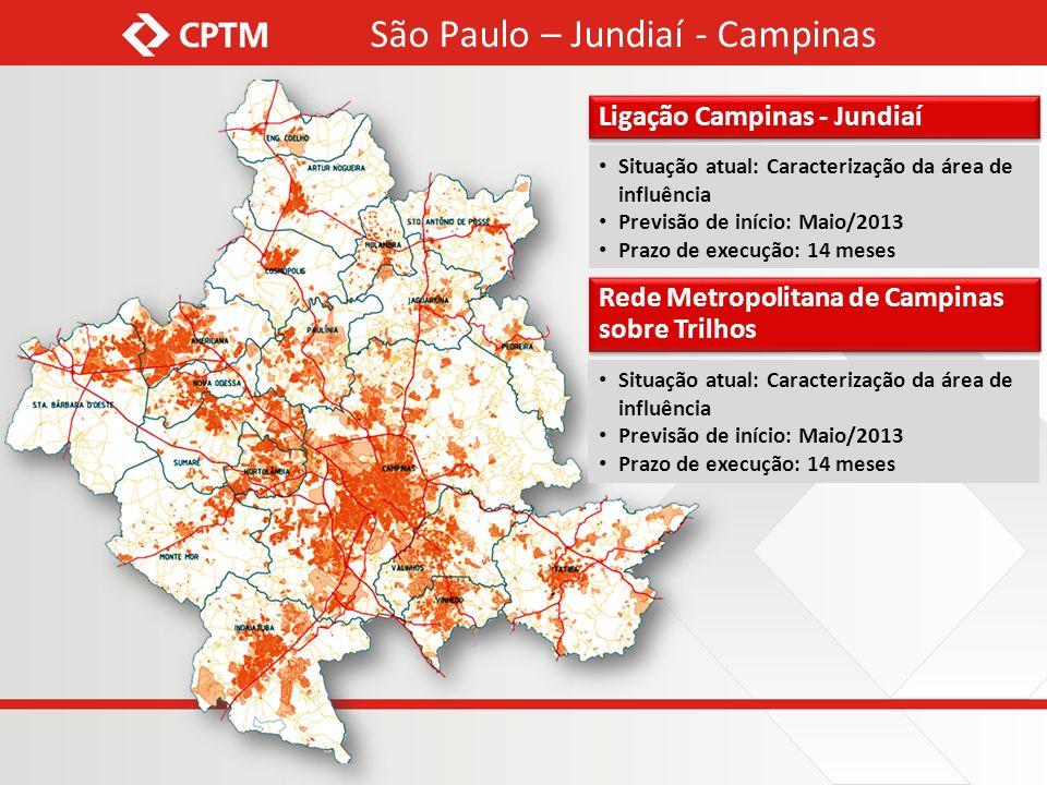 São Paulo – Jundiaí - Campinas Situação atual: Caracterização da área de influência Previsão de início: Maio/2013 Prazo de execução: 14 meses Situação