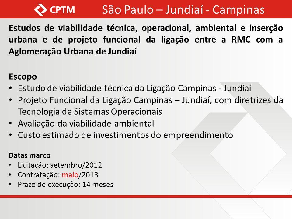 Estudos de viabilidade técnica, operacional, ambiental e inserção urbana e de projeto funcional da ligação entre a RMC com a Aglomeração Urbana de Jun