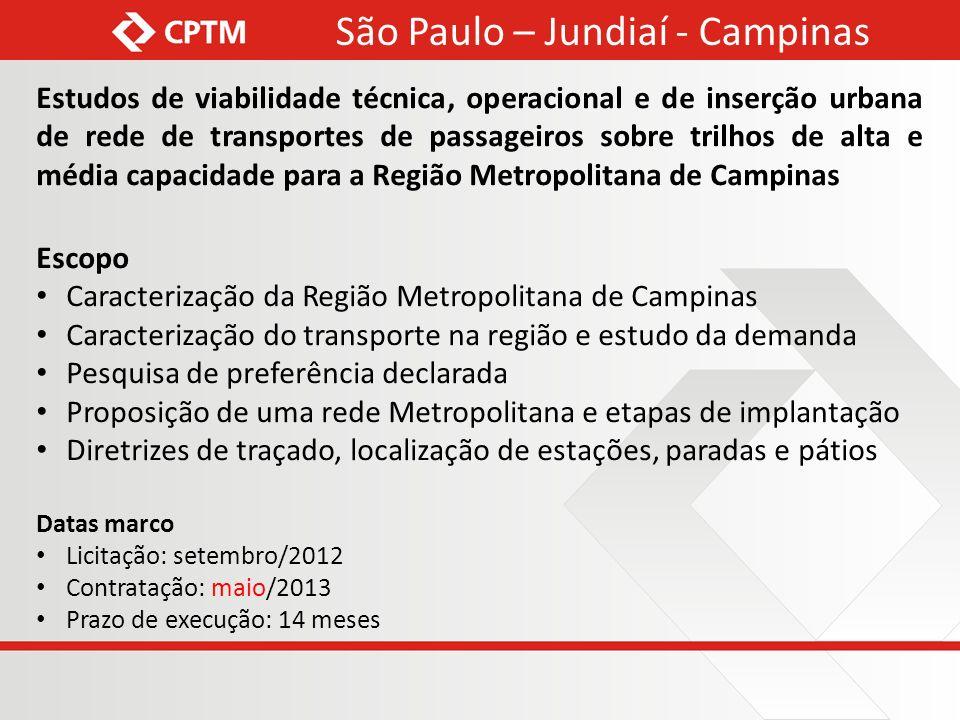 Estudos de viabilidade técnica, operacional e de inserção urbana de rede de transportes de passageiros sobre trilhos de alta e média capacidade para a
