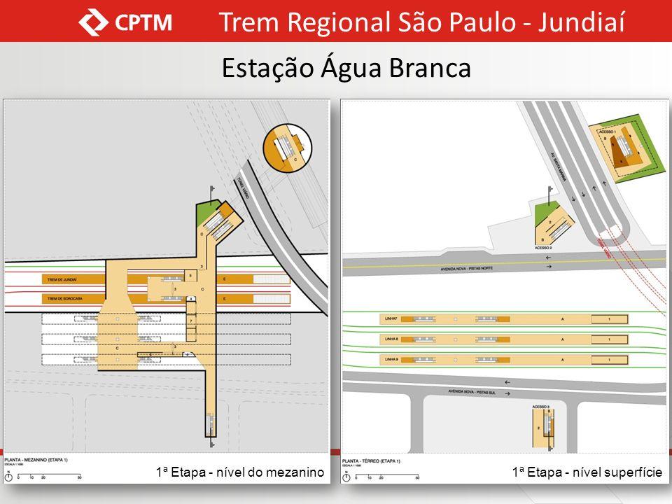 Corte Transversal - 1ª etapa só linhas do trem regional subterrâneas Corte Transversal - 2ª etapa linhas do trem regional e do trem metropolitano subterrâneas Trem Regional São Paulo - Jundiaí Estação Água Branca