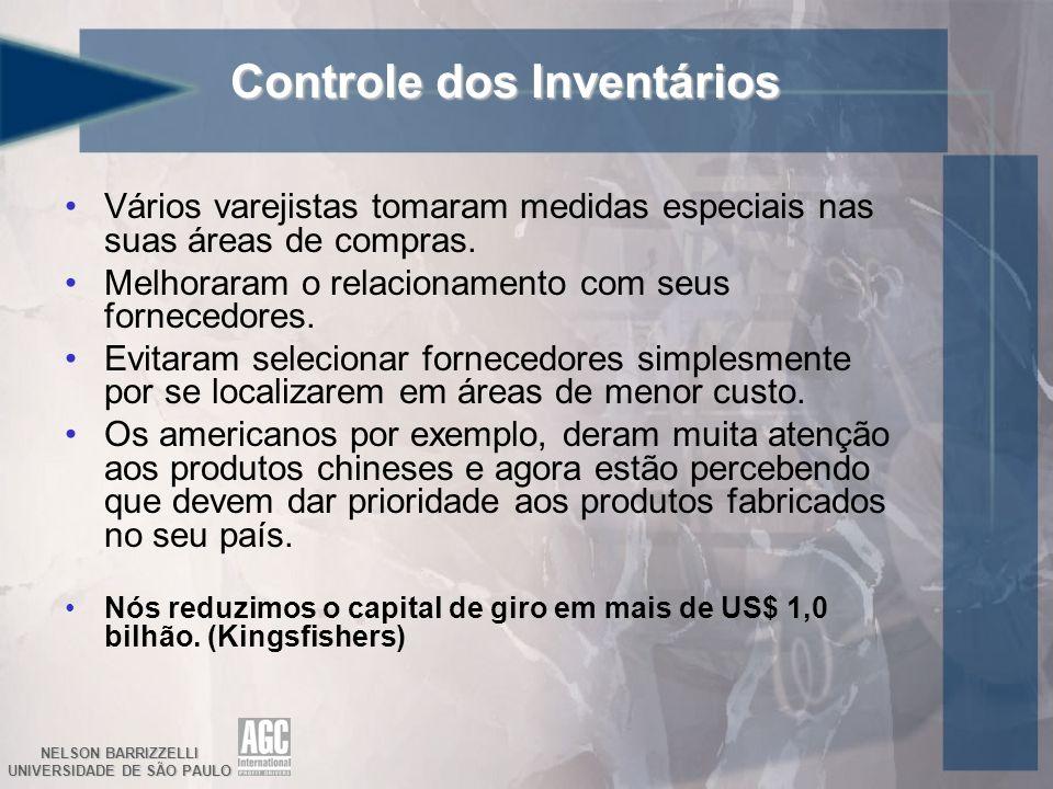 NELSON BARRIZZELLI UNIVERSIDADE DE SÃO PAULO Controle dos Inventários Vários varejistas tomaram medidas especiais nas suas áreas de compras. Melhorara