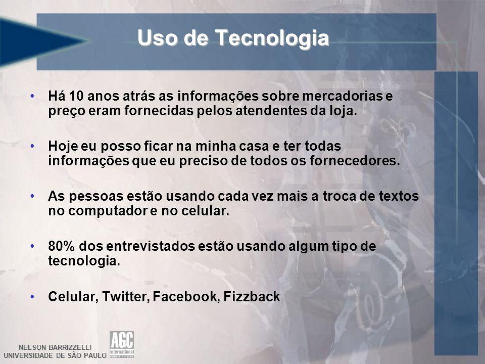 NELSON BARRIZZELLI UNIVERSIDADE DE SÃO PAULO Uso de Tecnologia Há 10 anos atrás as informações sobre mercadorias e preço eram fornecidas pelos atenden