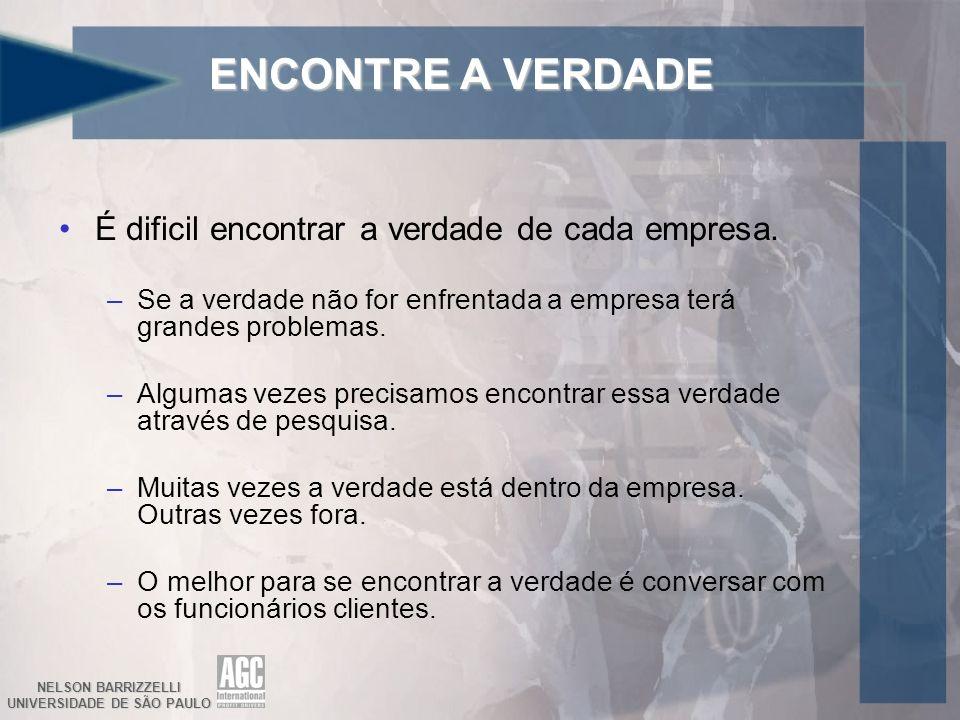 NELSON BARRIZZELLI UNIVERSIDADE DE SÃO PAULO ENCONTRE A VERDADE É dificil encontrar a verdade de cada empresa. –Se a verdade não for enfrentada a empr