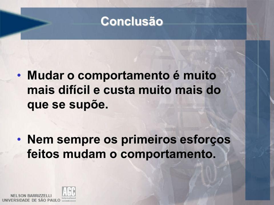 NELSON BARRIZZELLI UNIVERSIDADE DE SÃO PAULO Conclusão Mudar o comportamento é muito mais difícil e custa muito mais do que se supõe. Nem sempre os pr