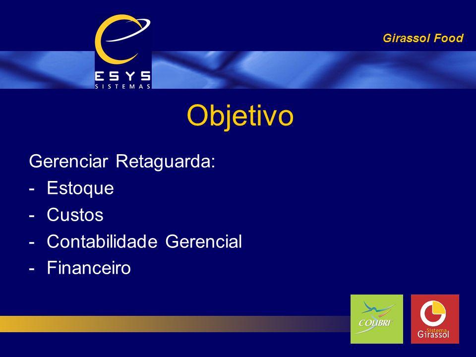 Objetivo Gerenciar Retaguarda: -Estoque -Custos -Contabilidade Gerencial -Financeiro Girassol Food