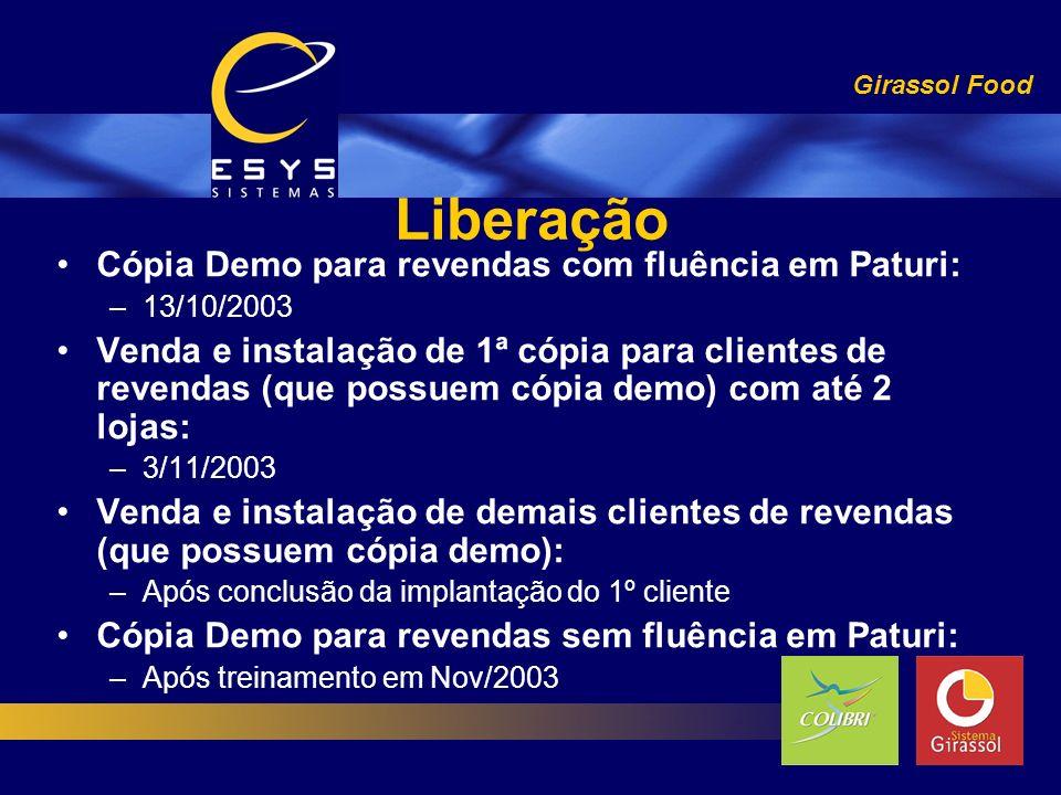Liberação Girassol Food Cópia Demo para revendas com fluência em Paturi: –13/10/2003 Venda e instalação de 1ª cópia para clientes de revendas (que pos