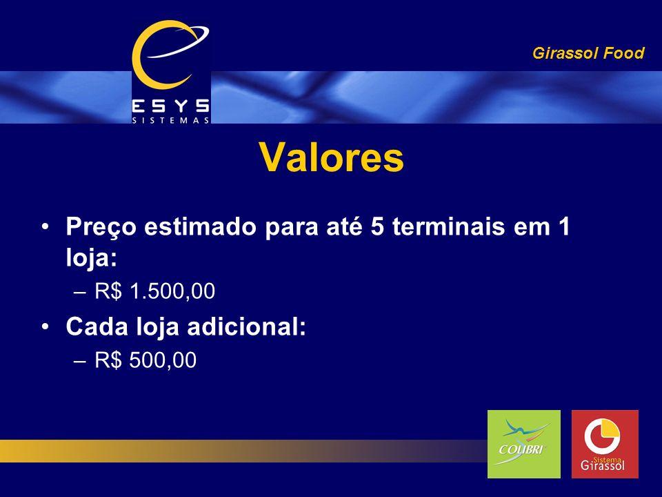 Valores Girassol Food Preço estimado para até 5 terminais em 1 loja: –R$ 1.500,00 Cada loja adicional: –R$ 500,00