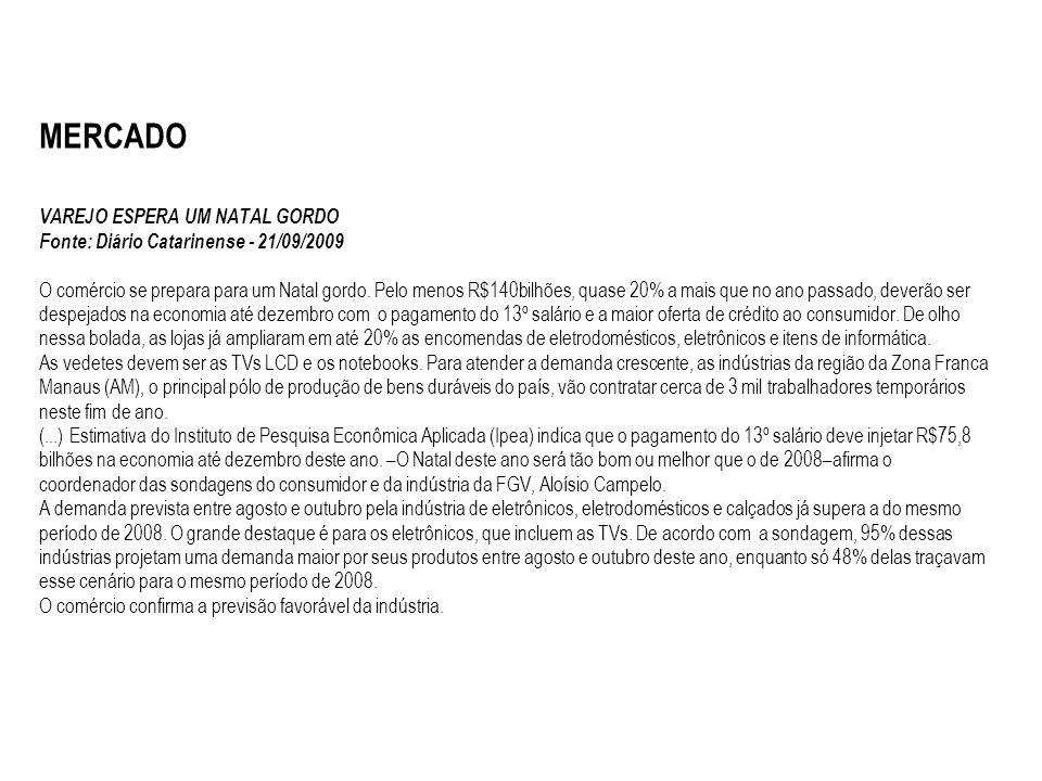 MERCADO VAREJO ESPERA UM NATAL GORDO Fonte: Diário Catarinense - 21/09/2009 O comércio se prepara para um Natal gordo. Pelo menos R$140bilhões, quase