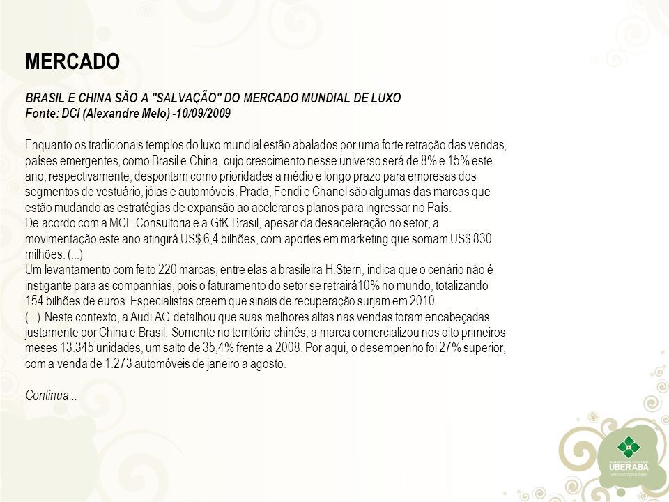 MERCADO BRASIL E CHINA SÃO A