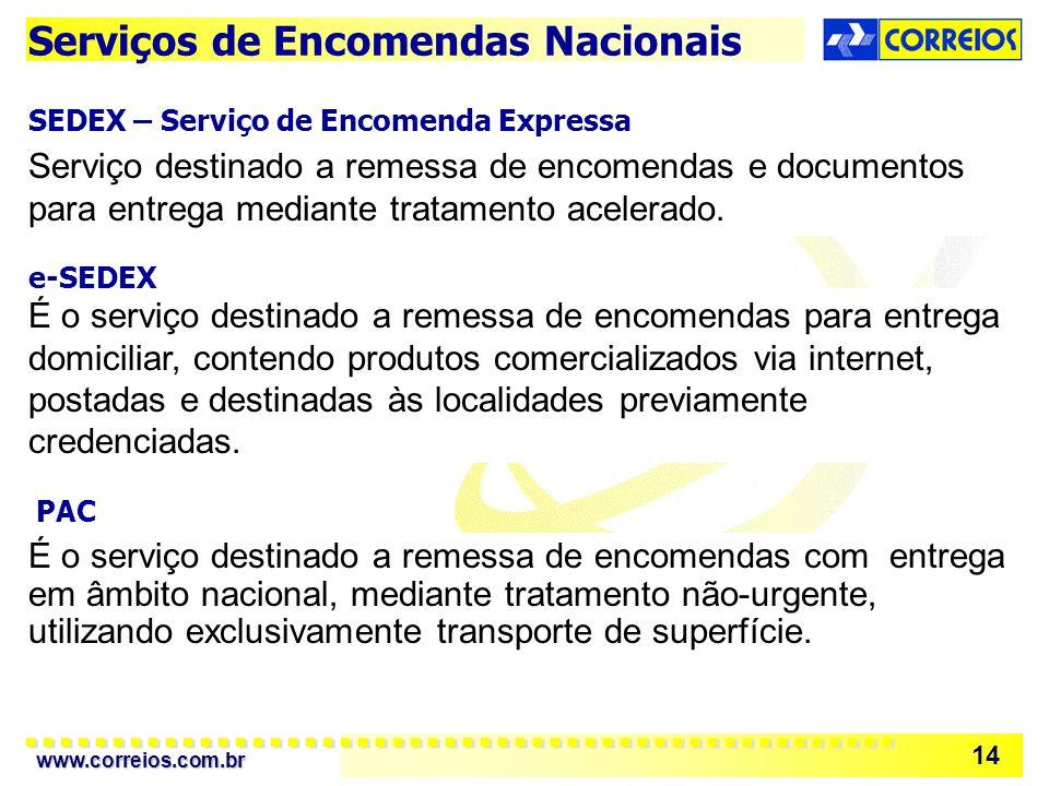 www.correios.com.br 14 Serviço destinado a remessa de encomendas e documentos para entrega mediante tratamento acelerado.