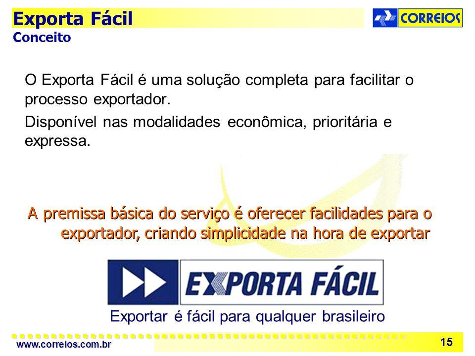 www.correios.com.br 15 O Exporta Fácil é uma solução completa para facilitar o processo exportador. Disponível nas modalidades econômica, prioritária