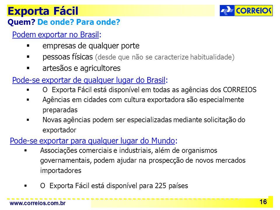 www.correios.com.br 16 Podem exportar no Brasil: empresas de qualquer porte pessoas físicas (desde que não se caracterize habitualidade) artesãos e agricultores Exporta Fácil Quem.