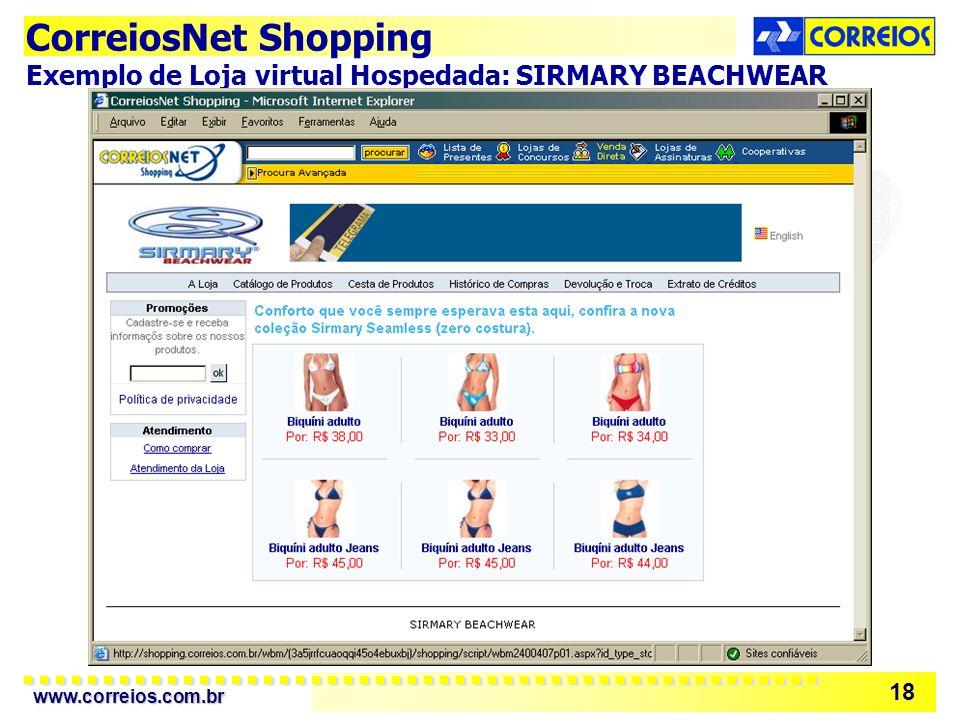 www.correios.com.br 18 CorreiosNet Shopping Exemplo de Loja virtual Hospedada: SIRMARY BEACHWEAR