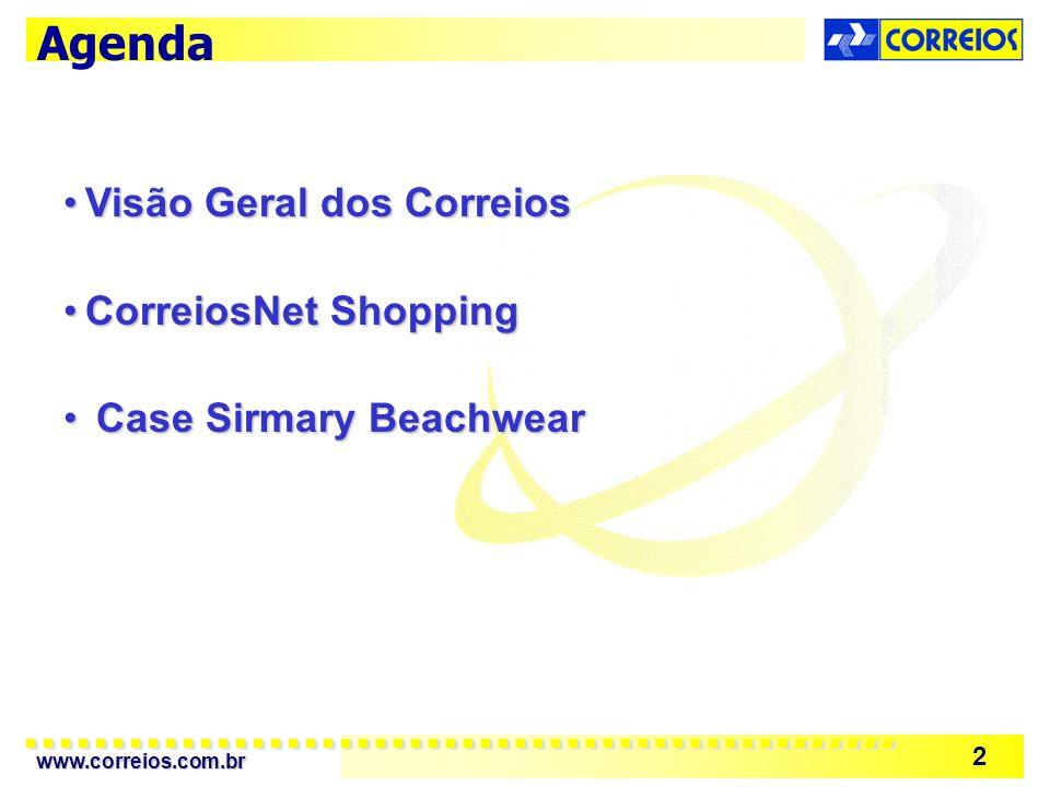 www.correios.com.br 2 Agenda Visão Geral dos CorreiosVisão Geral dos Correios CorreiosNet ShoppingCorreiosNet Shopping Case Sirmary Beachwear Case Sirmary Beachwear