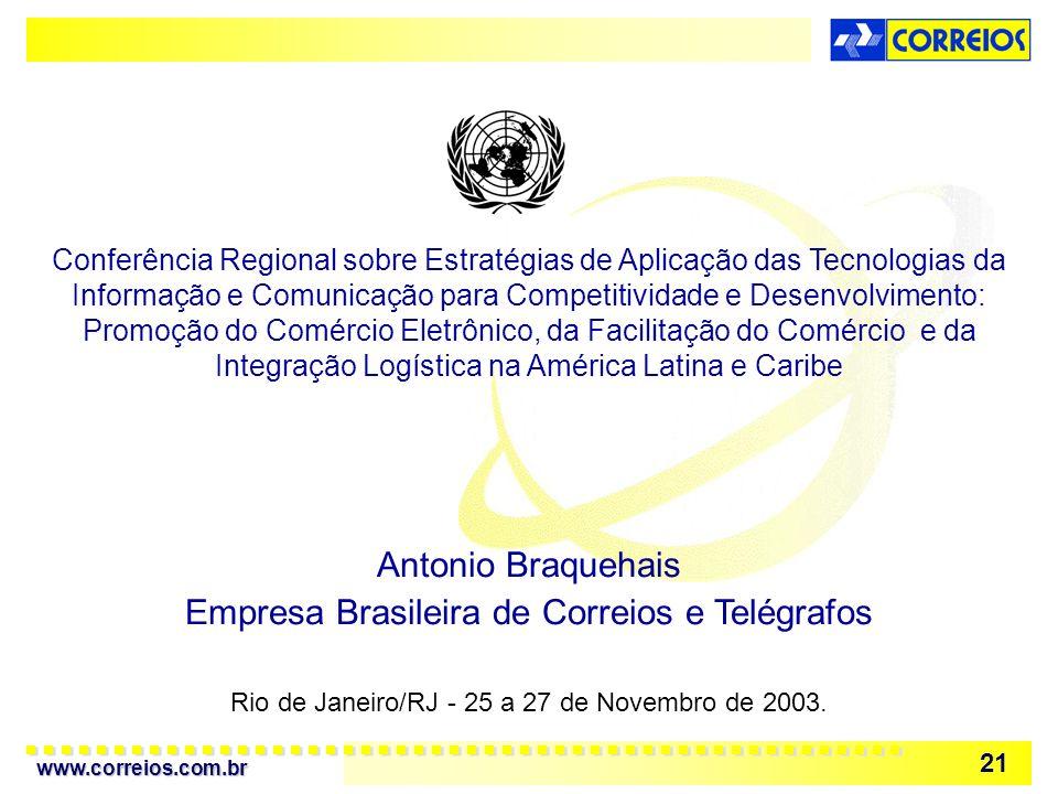 www.correios.com.br 21 Rio de Janeiro/RJ - 25 a 27 de Novembro de 2003. Conferência Regional sobre Estratégias de Aplicação das Tecnologias da Informa