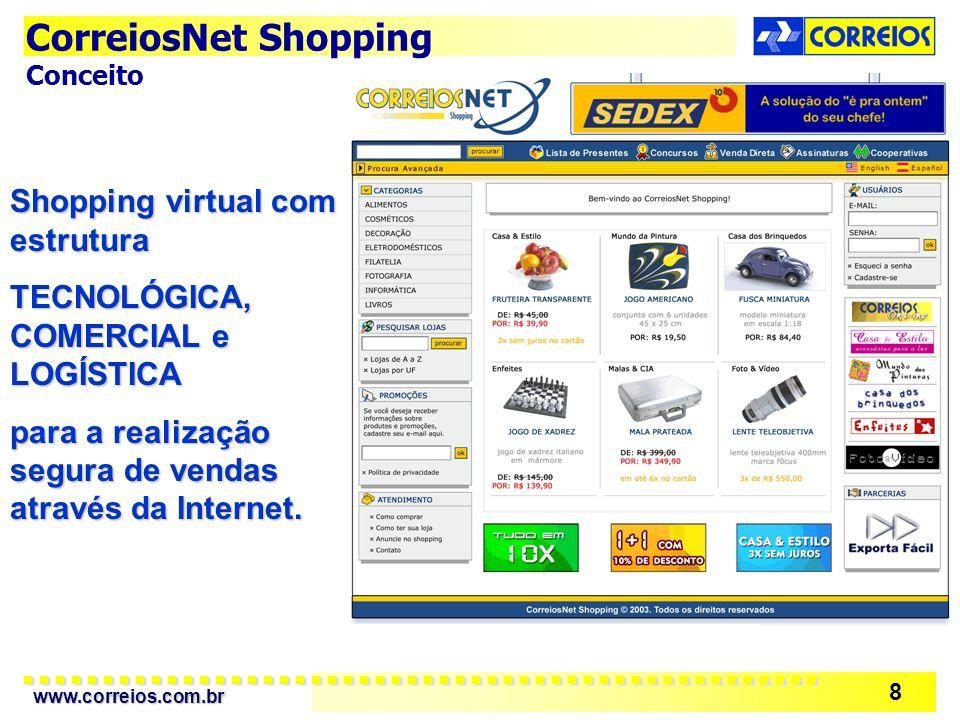 www.correios.com.br 8 Shopping virtual com estrutura TECNOLÓGICA, COMERCIAL e LOGÍSTICA para a realização segura de vendas através da Internet. Correi