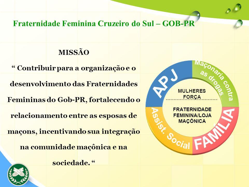FRATERNIDADE FEMININA/LOJA MAÇÔNICA MULHERES FORÇA MISSÃO Contribuir para a organização e o desenvolvimento das Fraternidades Femininas do Gob-PR, for