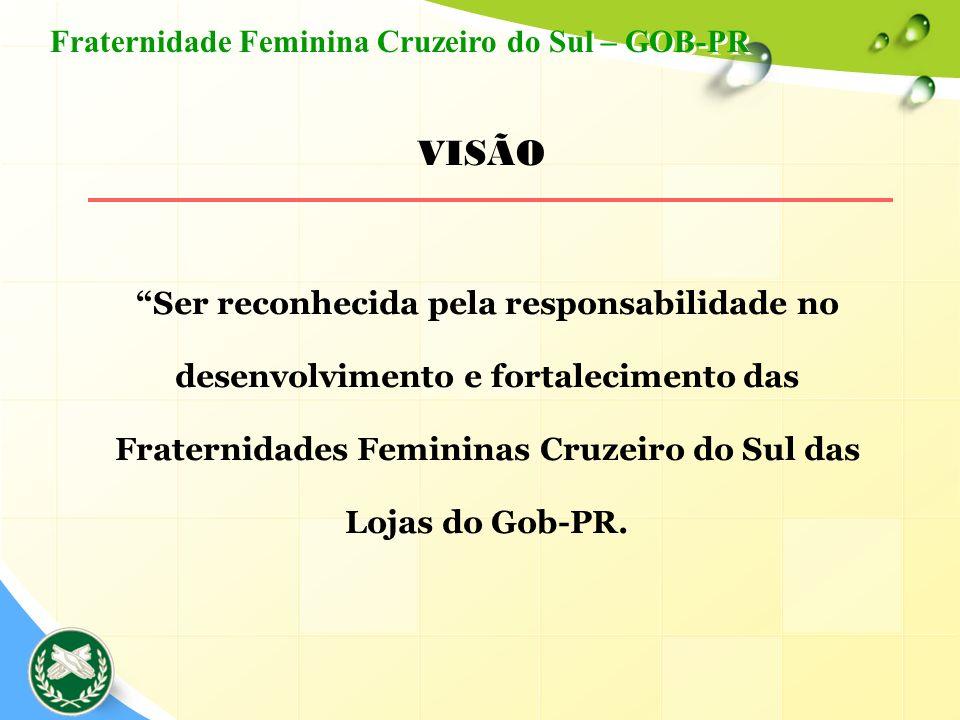Ser reconhecida pela responsabilidade no desenvolvimento e fortalecimento das Fraternidades Femininas Cruzeiro do Sul das Lojas do Gob-PR. VISÃO Frate