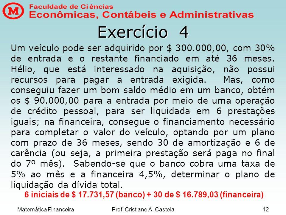 Matemática FinanceiraProf. Cristiane A. Castela12 Exercício 4 Um veículo pode ser adquirido por $ 300.000,00, com 30% de entrada e o restante financia