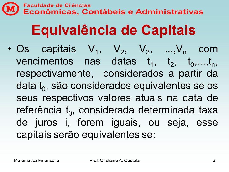 Matemática FinanceiraProf. Cristiane A. Castela2 Equivalência de Capitais Os capitais V 1, V 2, V 3,...,V n com vencimentos nas datas t 1, t 2, t 3,..